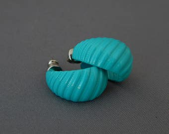 Vintage Turquoise Blue Enamel Earrings, Blue Enamel Half Hoops Earrings, Pierced Half Hoop Earrings, Blue Earrings, Blue Jewelry