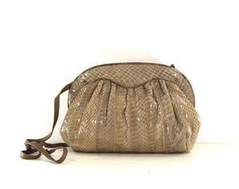 1980s snakeskin purse • beige snakeskin purse • convertible clutch bag • brown shoulder bag