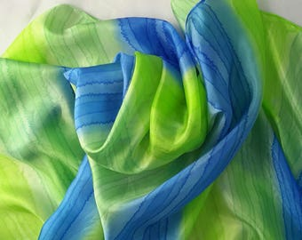 Silk scarf long hand painted spring green cornflower blue mid green