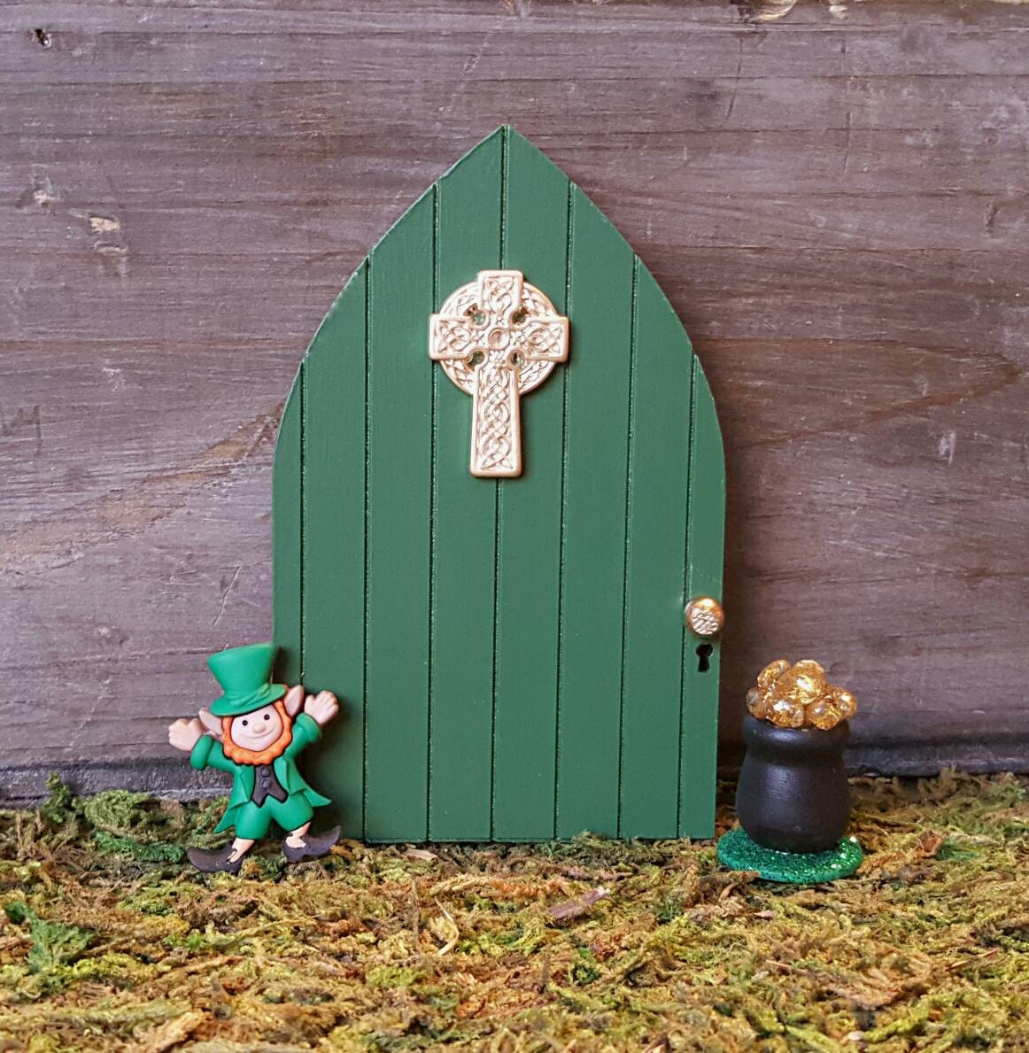 Irish celtic cross fairy door green fairy garden door for for Irish fairy garden