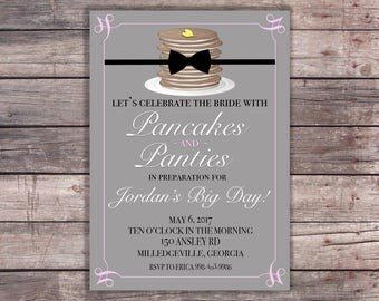 Pancakes and Panties Themed Lingerie Shower Invitation