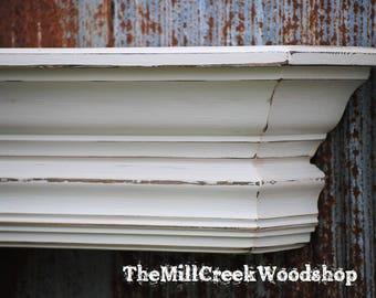 "Farmhouse Wall Shelf 72"" Fireplace Mantel Floating Ledge Mantle Distressed Wood Crown Molding Shelves Rustic Home Barn Decor"