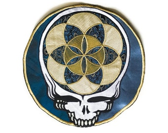Sacred Geometry Steal Your Face Handmade Patch Silk Applique Grateful Dead