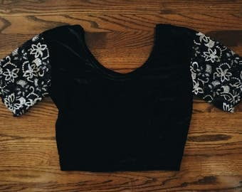 Vintage Black Velvet Crop Top with Lace Embroidered Sleeves
