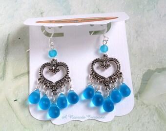 Aqua Sea Glass Earrings / Beach Glass Earrings / Heart Chandelier Earrings / Wire Wrapped Earrings /  Gift for Her / Gift for Mom