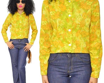 Vintage 70s Jan Sue of California Hippie Boho Floral Blouse Button Down Long Sleeve Shirt Top