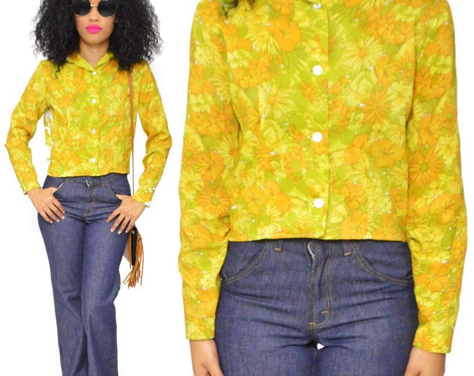 Vintage 70s Jan Sue of California Hippie Boho Floral Blouse Button Down Long Sleeve Shirt Top