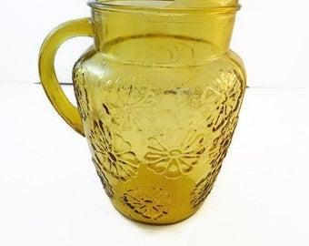 Vintage Amber Glass Pitcher Flower Design