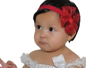 Baby Girl Headband, Red Headband, Bow Headband, Newborn Headband, Infant Headbands, Baby Girl Accessories, Valentines Headband