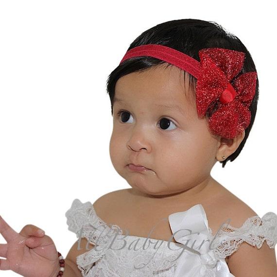 Christmas Bow Headband, Baby Girl Headband, Red Headband, Bow Headband, Newborn Headband, Infant Headbands, Baby Girl Accessories, Headband