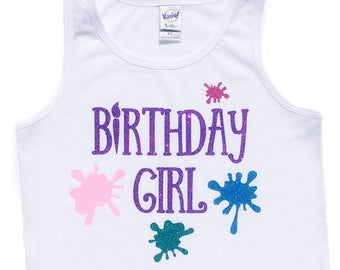 Art Party Birthday Girl Painting Sparkly Glitter Girls Custom Bodysuit, T Shirt or Tank Top - Customizable Colors
