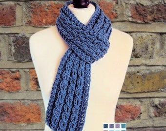Hand Knitted Women's Scarf Blue Scarf Cotton Scarf Linen Scarf Skinny Scarf Vegan Scarf Women Gift for Mum Gift for Girlfriend Gift for Wife