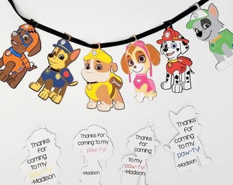 Paw Patrol Thank You Tags, Paw Patrol, Pup Thank You Tags,  Birthday Party Favor Tags, Chase Thank You, Marshall Thank You, Skye -Set of 10