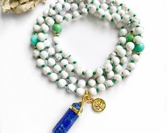 Mala Beads, Mala Necklace, 108 Mala Beads, Hand Knotted Mala, Japa Mala, Meditation Beads, Yoga Necklace, Prayer Beads, White Mala, MKHC