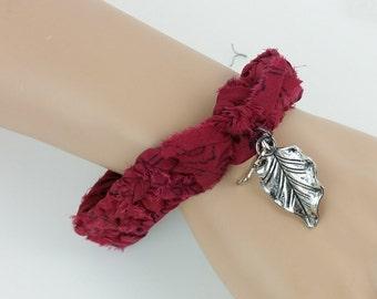 Silk Bracelet, Red Bracelet, Bohemian Bracelet, Crochet Bracelet, Charm Bracelet, Boho Chic, Sari Silk Ribbon, Dragonfly Charm, Silk Bangle