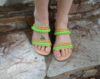 "Greek Leather Sandals ""Chloe"", Boho sandals, pom pom sandals, colorful hippie sandals, neon Green sandals, women sandals shoes"