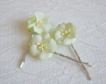 Apple Green Flower hair clips, apple blossom pins, wedding flower pins, pastel flower hair accessory, summer hair clips