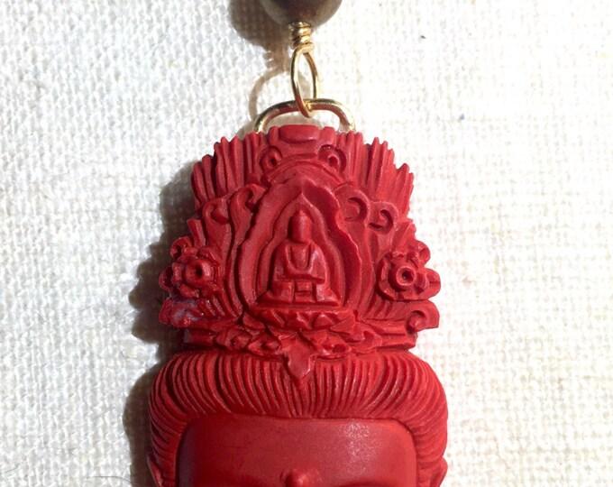 Cinnabar Tara, Quan Yin, Kwan Yin, Goddess, Mama Buddha, Buddhist jewel, carnelian,brass, amethyst crystal