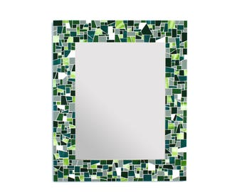 Green Mirror – Mosaic Wall Mirror in Green Stained Glass Tile Bathroom Wall Mirror