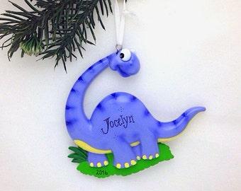 FREE SHIPPING Brontosaurus Christmas Ornament / Dinosaur Personalized Christmas Ornament / Toddler / Child Ornament / Purple Dinosaur