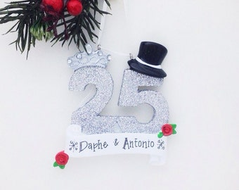 FREE SHIPPING 25th Anniversary Personalized Christmas ornament - Couple ornament  - Anniversary Ornament
