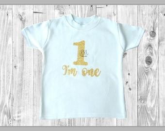 Blue I'm one gold glitter t shirt - 1st birthday outfit, white & gold, one baby outfit, baby boy, glitter 1 t shirt, cake smash outfit