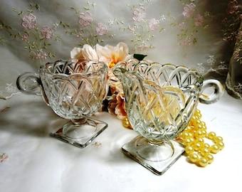 Vintage 1930s, Indiana Glass Crystal Clear Pretzel Pattern Creamer & Sugar Set
