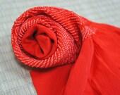 Vintage red shibori obiag...