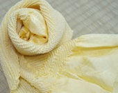 Vintage light yellow silk...