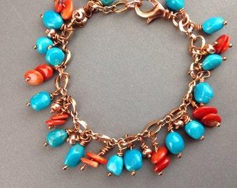 "Sleeping Beauty Turquoise bracelet, red Coral bracelet, Xmas jewelry, Southwest bracelet, cluster dangle bracelet, ""Sedona Beauty"""