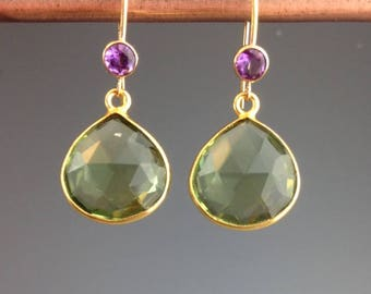 Green Amethyst Earrings - Green Amethyst Jewelry - Gemstone Earrings - Green earrings - Purple Amethyst Gold earrings - Amethyst Gems