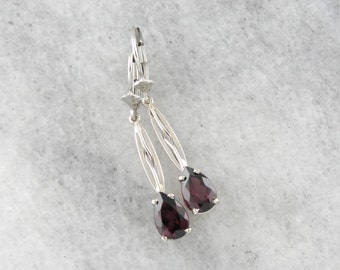 Teardrop Rhodolite Garnet Drop Earrings, Raspberry Red Stones QERT84-R
