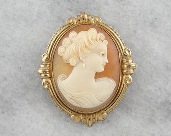 Victorian Revival Cameo Pendant or Brooch with Gold Frame XF56F3-R