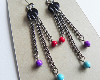Handmade earrings - Tricolour beads and chains