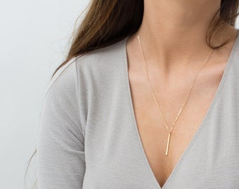 Everyday Necklace Minimal, 14K Gold Fill Bar, Sterling Silver, Rose Gold Layering Necklace / Vertical Bar / by Layered and Long LN120_30_V