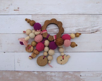 Pink Crochet Teether Natural wood teether Nursery gift Rattle toy Baby toys Babyshower Eco friendly toy