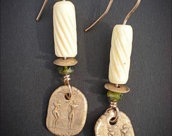 Bronze Petroglyph Shields and Bones Amulet Earrings