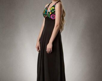 Estyn- Embroidered Cross Back Maxi Dress