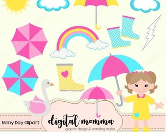 Rainy Day Clipart Set, Umbrella, Rain Boots Clipart, Personal & Commercial Use, Instant Download!