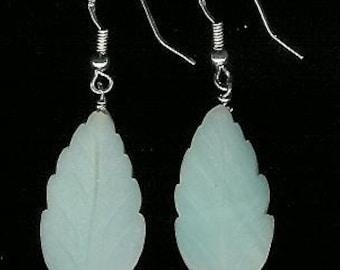 Earrings - OOAK Carved Amazonite Leaf, Sterling Silver Natural  Gemstone Bold Statement