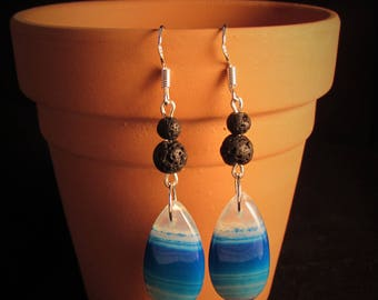 20 Ct Sky Blue Agate Earrings - Wicked Willow Grove Jewelry Collection