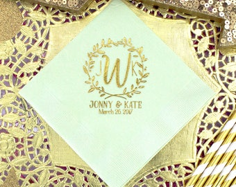 Monogram Napkins Wedding Personalized Cocktail Party Mint