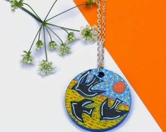 Crow Necklace, Raven Necklace, Rook Necklace, Crow Jewelry, Bird Necklace, Raven Jewelry, Hand Painted Jewelry, Wood Necklace, Art Pendant
