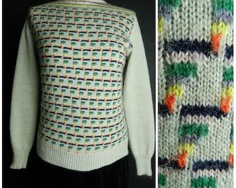 70s 80s acrylic geometric ski jumper sweater grey yellow grey black orange SM ~ M
