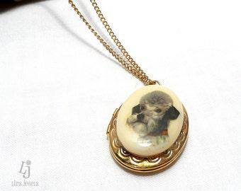 Schnauzer Ceramic Gold Tone 16 inch Locket, gold tone locket, fashion jewelry, reclaimed necklace, locket, gold locket, Schnauzer