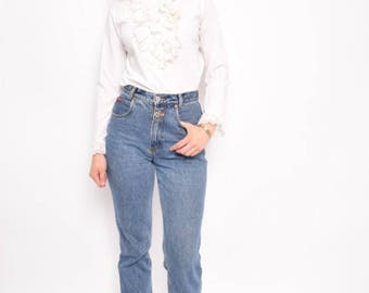 Vintage 80's Ruffled White Blouse / White Long Sleeve Shirt / Ruffled White Blouse - Size Small