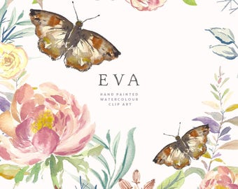 Hand Painted Flower and Butterfly Clipart - Eva