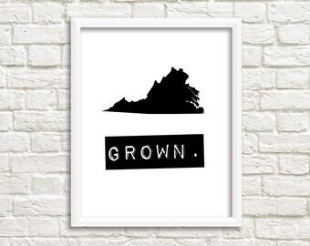Virginia print, custom map art, black and white digital download, Virginia sign, printable wall art, Virginia decor, Virginia state signs