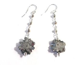 Silver Drusy & Pyrite Earrings