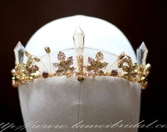 Gold leaf Wedding hair crown , Crystal Crown , Gold bridal Tiara , Wedding crown, Gothic Tiara, Greek goddess hair accessory